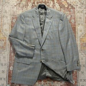 Samuelsohn Blazer - Gray Check Mens Wool 44L